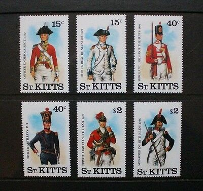 ST KITTS 1987 Military Uniforms 3rd Series. Set of 6 Mint Never Hinged. SG220/25