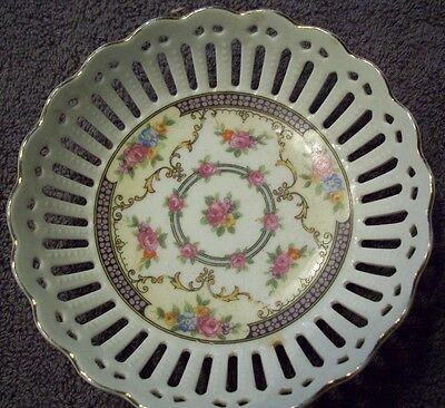 German Porcelain dish with cutouts for sweets, trinkets, jewelry - edged in gold