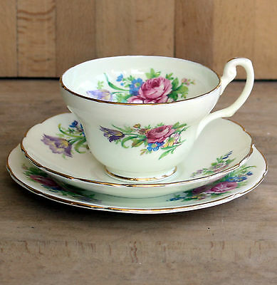 """Super ~ English Bone China ~ cup, saucer & plate """"Floral"""" pattern with gilding."""