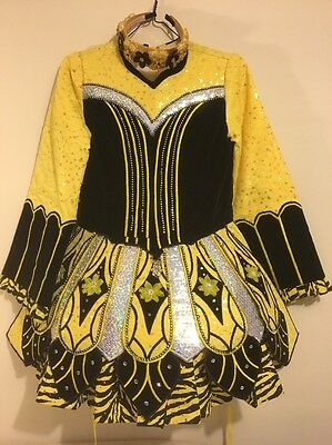 Irish Solo Dance Competition Feis Dress And Headband Roughly Fit 9-11 Yr Old