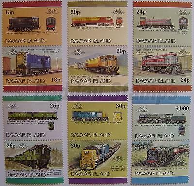 1986 DAVAAR ISLAND Set #2 TRAIN RAILWAY STAMPS Loco 100 / Leaders of the World