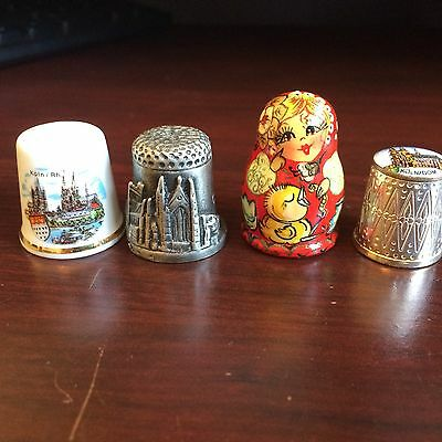 4 Vintage Foreign Thimble Lot, Koln Carlisle Cathedral Russia