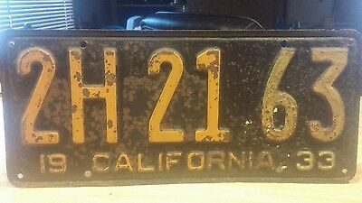 California 1933 license plate  # 2HS 21 63