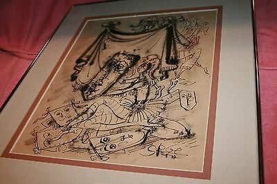 Original Art Signed By Listed Artist Yossi (Jossi) Stern WC Framed & Matted