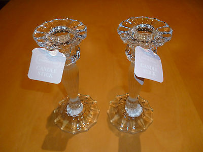 2 x Medium glass candlesticks vintage dining wedding parties occasions 18cm tall