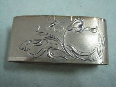 Portugal silver Napkin Ring with flowers and a butterfly art nouveau