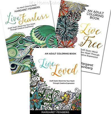 New SET of 3 Feinberg Adult Coloring Books LIVE LOVED  LIVE FREE  LIVE FEARLESS