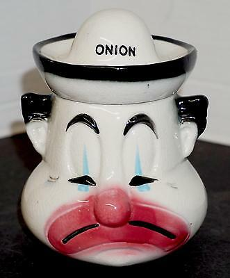 Vintage Anthropomorphic Onion Condiment Jar w/ Spoon Sad Frowning Clown Face