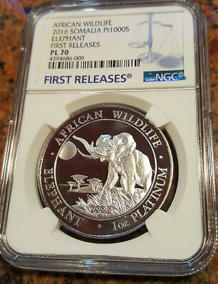 PLATINUM ELEPHANT coin - FIRST YEAR - 1 oz Proof - NGC PL70 FIRST RELEASE *RARE*