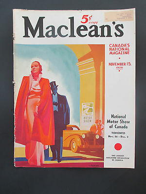 """Vintage November 15, 1938 Maclean's Magazine Cover Clipping, 13.875"""" X 10.125"""""""