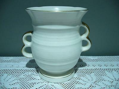 Crown Devon England Lovely Art Deco Cream Vase With Gilt Trim - Cg