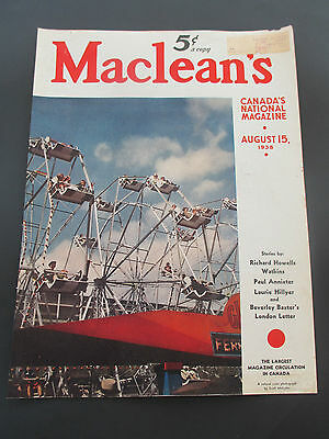 """Vintage August 15, 1938 Maclean's Magazine Cover Clipping, 13.875"""" X 10.5"""""""