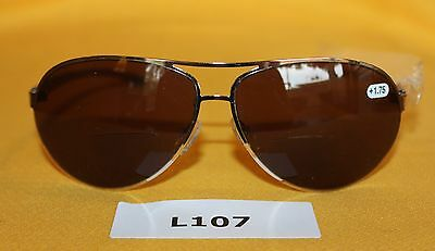 Mens Reading Bifocal Sunglasses Silver Metal Framed Aviator +1.75 NEW  L107
