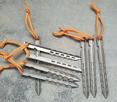 8 pcs Titanium tent pegs with rope, outdoor, portable, affordable