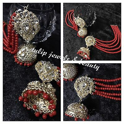 ethnic Indian/pakistani Wedding Jewellery jhumkka Earrings With Strings / Sahara