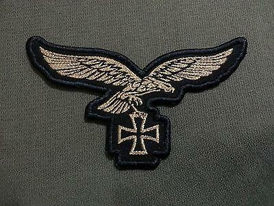 German Luftwaffe Gold Eagle with Iron Cross Woven Patch Sew On