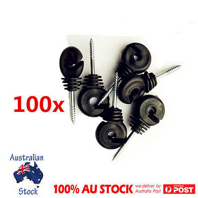100Pcs Short Screw In Ring Insulator Farm Electric Fence Wood Timber Tape Post