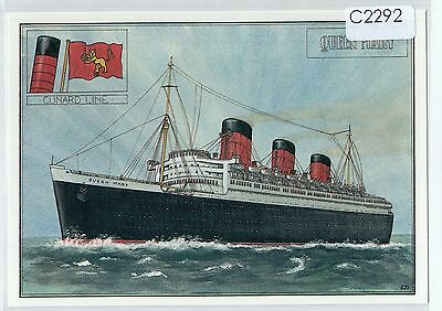 C2292cgt RMS Queen Mary Cunard Line liner poster postcard