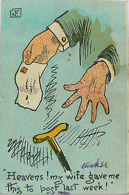 Postcards.comic.by Tucker.my Wife Gave Me This To Post.postmarked Victoria 1909