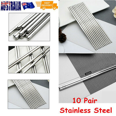 Dishwasher Safe Korean Stainless Steel Anti-slip Chopsticks Kitchen Cutlery BULK