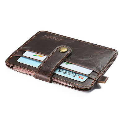 Crazy Horse Men Hasp Vintage Style Clutch Small Purse Leather Mini Wallets