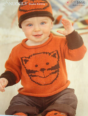 Sirdar 1668 Babysboys Dk Cat Sweater Hat Bootees Knitting
