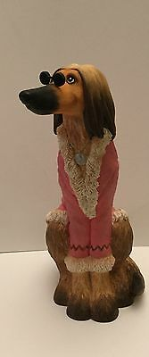 Afghan Hound Figurine with Pink Jacket by Enesco c2006 No.A6834