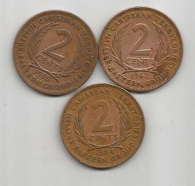 British East Caribbean Territories - 1955,1962,1964 - 2 cents - 3 Coins