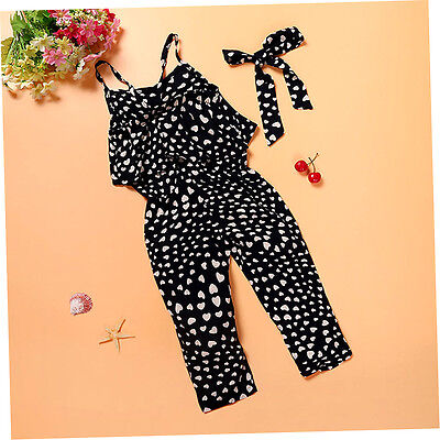 Love Wave Point Printing Jumpsuits New Kids Baby Girls Outfits Clothes F&