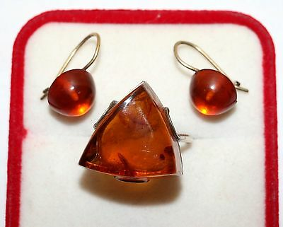 Soviet USSR Vintage Perfect AMBER EARRINGS Ring SILVER 875 Russian USSR Antique