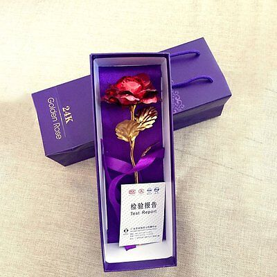 Mother's Day Red Rose Romantic Flower Long Stem Gold Plated Leaf Gift Box