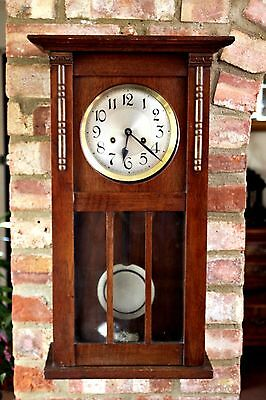 Vintage German 'Mauthe Gongschlag' 8-Day Oak Wall Clock with Chimes
