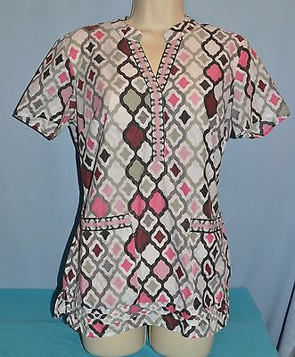 HEALING HANDS~X-SMALL~Women's Gray & Pink Patterned Scrub Top