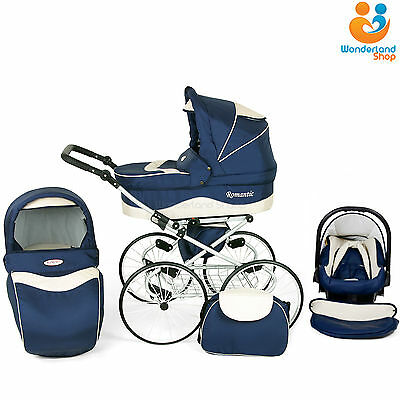 Retro Classic Baby Pram Stroller Pushchair Car Seat Carrycot Travel System Buggy