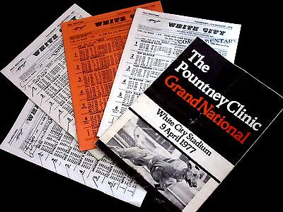 5 x London White City Greyhound Racecards Includes The 1977 Grand National Final