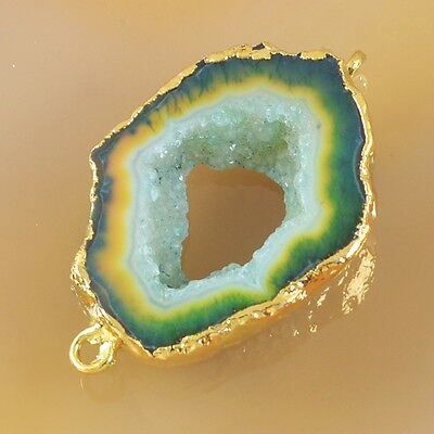 Green Agate Druzy Geode Slice Connector Gold Plated B028352