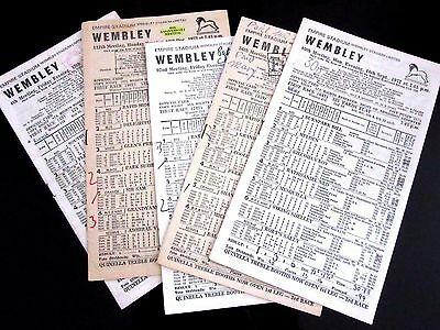 5 x Wembley Empire Stadium Greyhound Racecards 1972- 1974 Only 79p Each To Clear