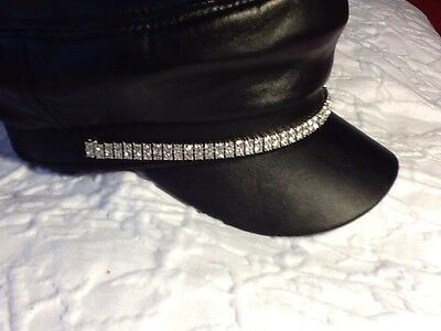 Classic Motorcycle Leather Rhinestone Cap Harley Biker  Natstricklenbellsouth
