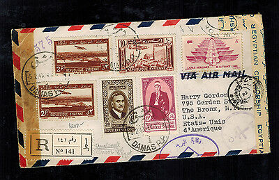1943 Syria Airmail Dual Censored Cover to USA