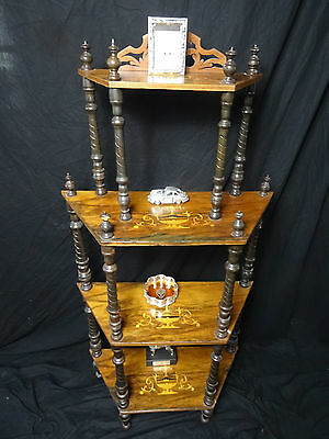 Antique Victorian Royal Crested Marquetry Inlaid Walnut 4 Tier Whatnot Stand