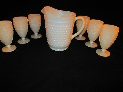 Large Milk Glass Hobnail Pitcher and Six Glasses
