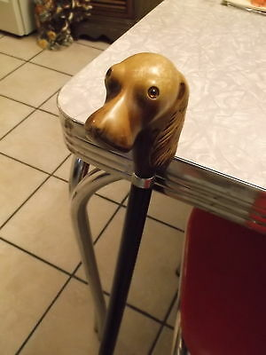 Vintage Cane Walking Stick with Dog Head Beautiful with Amber Glass Eyes  1900's