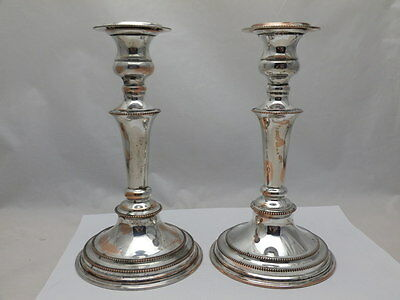 "Pair Antique Victorian A1 Silver Plate Round Based Candlesticks  8 1/2""  tall"