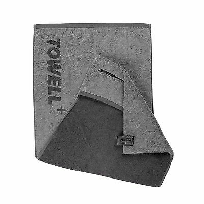 Towell+ Grey Sports Gym Towel + Zip Pocket & Magnetic Clip