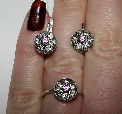 Vintage Marvelous Soviet Era Ring Earrings set Silver USSR Antique Exclusive!