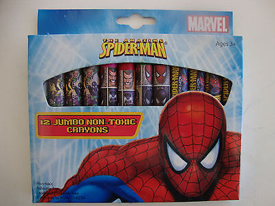 "Marvel, The Amazing "" SPIDER - MAN "",12 JUMBO, Non Toxic Crayons, Beautiful, NEW"