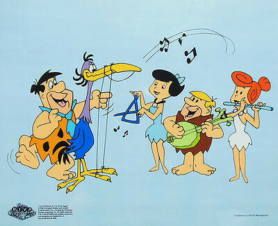 Flintstones Original Animation Art Sericel Cel Fred Wilma Barney Betty Play Harp