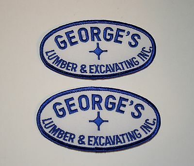2 Vintage George's Lumber & Excavating Inc Illinois Employee Patch New NOS 1970s