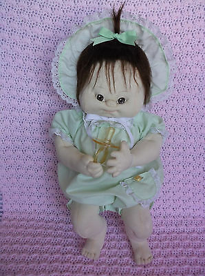 Cute  Artist Soft Sculpture Cabbage Patch Type Cloth Doll, Brown Eyes, Pacifier