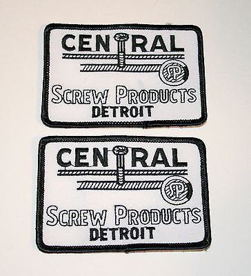 2 Vintage Central Screw Products Detroit Michigan Employee Patch New NOS 1970s